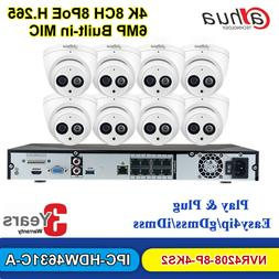 Dahua Security System NVR4208-8P-4KS2 6MP IP Camera IPC-HDW4