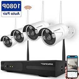 Wireless Security Camera System,SMONET 4CH 1080P Wireless Vi