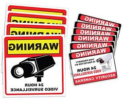 Video Surveillance Sticker Sign Decal - 10 Pack - Home Busin