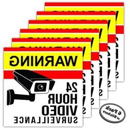 6-Pack Video Surveillance Stickers - 5 inch - Adhesive is on