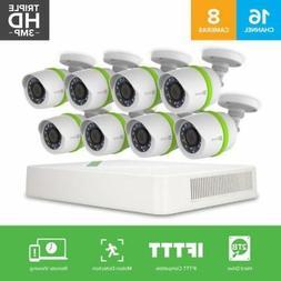 EZVIZ TRIPLE HD 3MP Outdoor Surveillance System, 8 Weatherpr