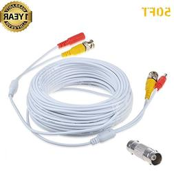 Accessory USA 50ft White BNC Video Power Wire Cord for Swann