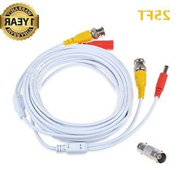 Accessory USA 25ft White Video and Power BNC Cable for CCTV