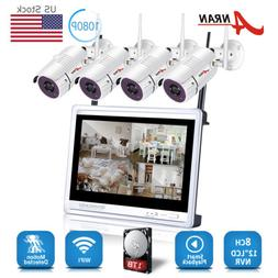 "8CH Wireless Security Camera System 1080P HD 12""Monitor Home"