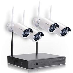 Wireless Security Camera System WiFi NVR Kit CCTV 4CH 1080P