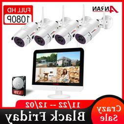 """Wireless Security Camera System 960P 4CH 1TB 7""""Monitor Home"""