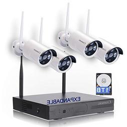 Wireless Security Camera System 8CH 1080P WiFi NVR Kit CCTV