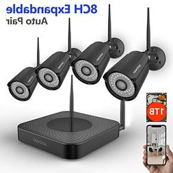 Security Camera System Wireless,Safevant 8CH Wireless Secur