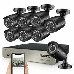 ZOSI HD 8CH 1080P HDMI DVR 2MP Outdoor Home Surveillance Sec